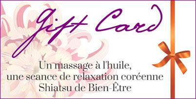 Bon cadeau pour un massage shiatsu ou à l'huile